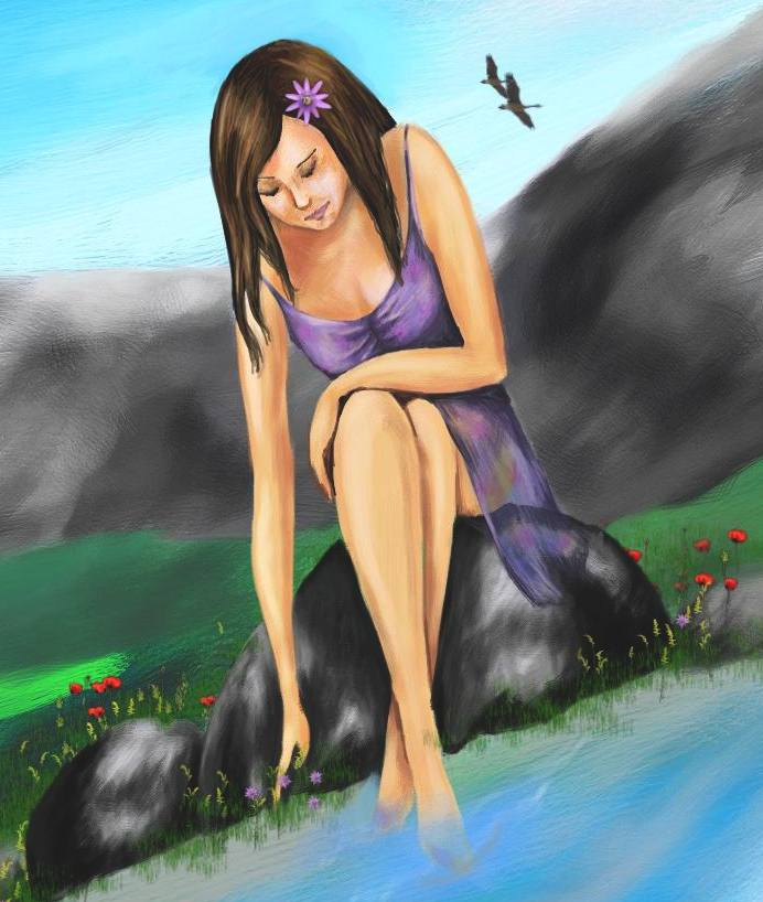 A girl near the river №1 -