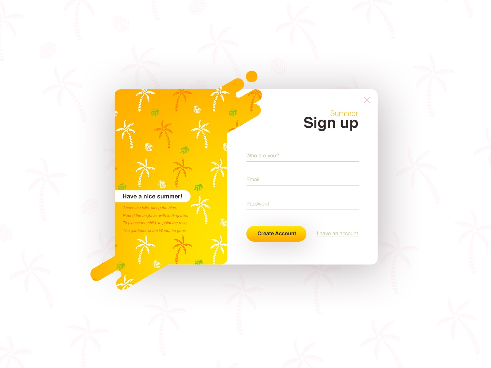 Sign-up Forms (season series) №3 - Summer